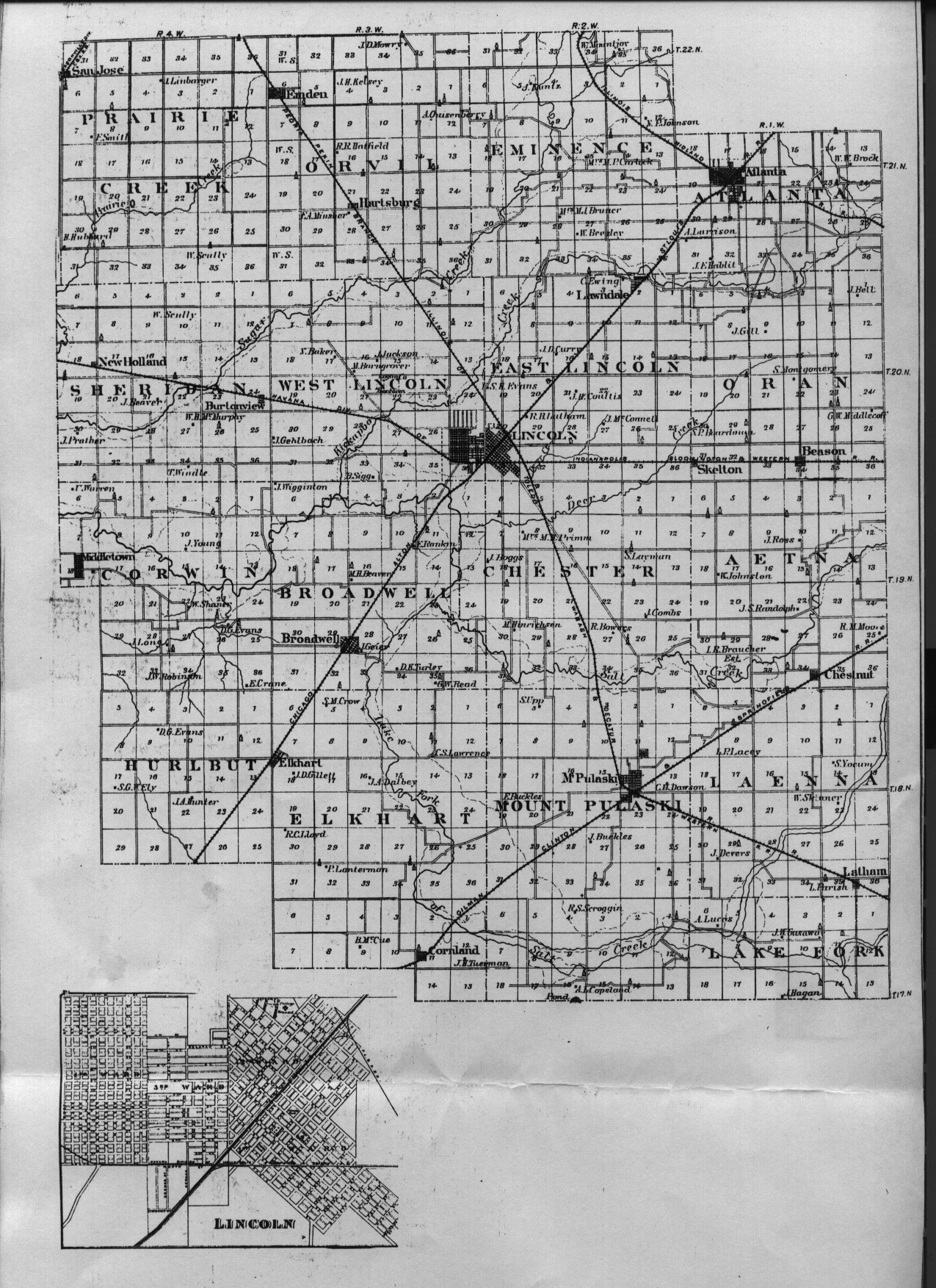1876 Logan County map